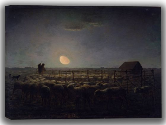 Millet, Jean-François: The Sheepfold, Moonlight. Fine Art Canvas. Sizes: A4/A3/A2/A1 (004130)